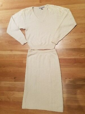 80's fab vintage winter white ivory cream party sweater skirt set PL PM