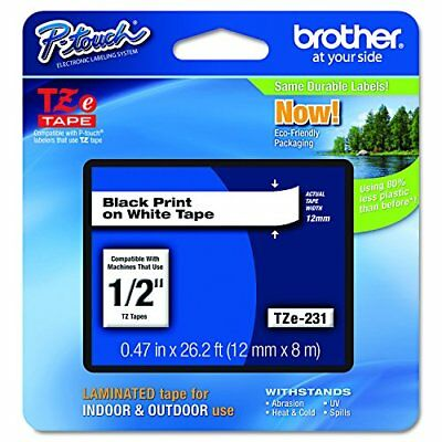 """Brother P-touch TZe231 1/2"""" 0.47"""" Black on White Standard Laminated Tape - 26..."""