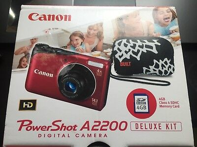 Canon PowerShot A2200 14.1MP Digital Camera - Red with 4gb SD card