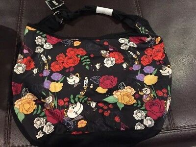 d060aeb87 DISNEY BEAUTY AND The Beast LOUNGEFLY Floral Hobo Bag Purse - $17.99 ...