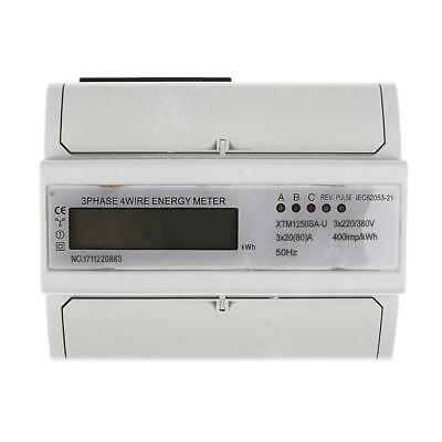 3 Phase 4 Wire DIN Rail Power Electricity kWh Energy Sub Meter 20(80)A LCD