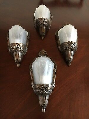 4 Art Deco Antique 30s Electrolier  Sconces Wall Fixtures. White Slip Shades