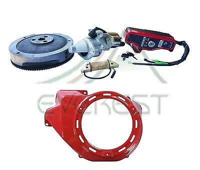 Electric Starter Motor Kit For Honda GX340 GX390 Flywheel Ignition Box Fan Cover