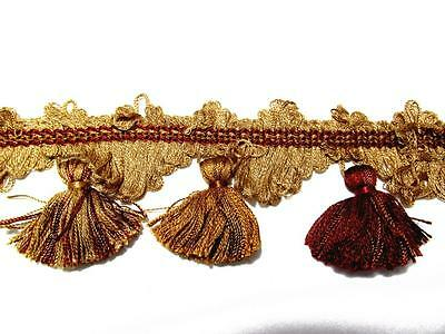 "Nantucket Trimming 3"" Gold, Rust Tassel Fringe, Tapestry - Fabric Trim"