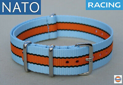 BRACELET MONTRE NATO 20mm GULF mechanical chronograph pilot racing watch strap
