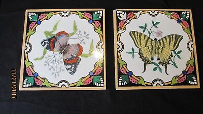 "MINTON & HOLLINS TWO TILES, c1870  6"" RARE BUTTERFLY PATTERNS"