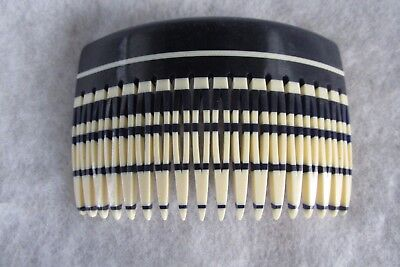 Made In France Art Deco Black And Ivory Wide Hair Comb - Standout Piece