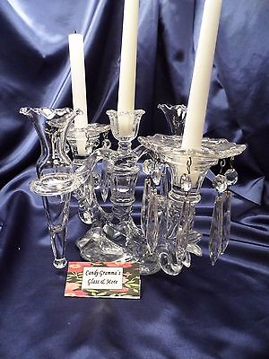 Cambridge Clear Glass Caprice Epergne Candelabra 2-Vase 3-Candle circa 1910