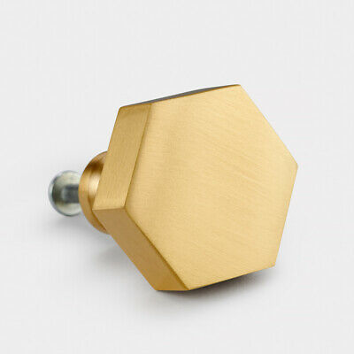 Solid Brass Gold Cabinet cupboard door interior room knob handle Brushed finish