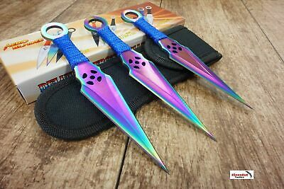 "NEW 6.5"" 3PC Rainbow Ninja TACTICAL SELETONIZED Combat Throwing Knife Set Kunai"