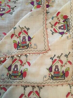 Rare Antique Ottoman-Turkish Silk & Hand Embroidery Square Cevre Ship Motif