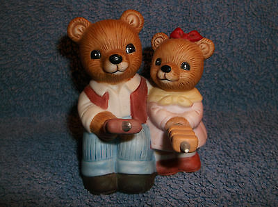 Homco Campfire Bears Figurine 1446 Wiener Roast Mother And Son