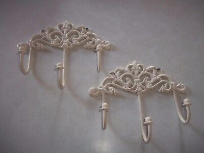 Set of 2 Decor Cast Iron Wall Hook Rack Vintage Design White Hanger W/ 3 Hooks