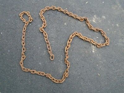 Vintage Cast Iron Heavy 14-feet Long Chain - Farm Tools Industrial Steampunk