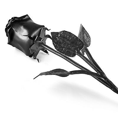 Hand Forged Iron Rose - Wrought Iron Flower In Black - Unique Anniversary Gift