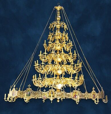 """Brass and Gold-plated Chandelier (""""Polyeleos"""") for Orthodox Church NEW"""