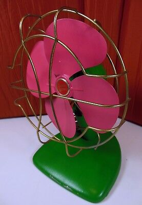 Vtg 1950's Electric Fan Super Lectric W/ Metal Fan. Painted, Turns On.Ships Free