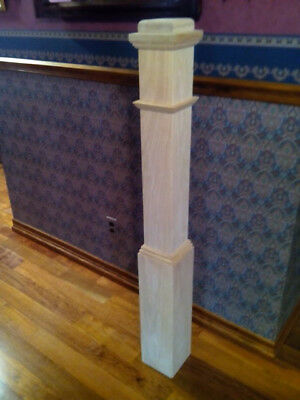 Pair of unfinished red oak box newell posts style C4091