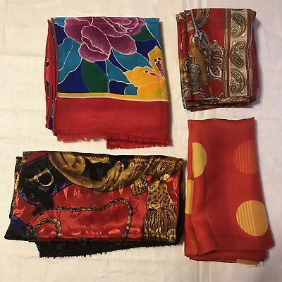 4 Scarves Red Oblong Floral Silk Polka Dot Gold Square Yellow Vintage Scarf Lot