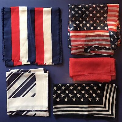 5 Scarves Patriotic USA Stars Stripes Red White Blue Burmel Scarf Vtg Lot Ladies