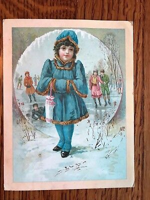 Antique Lion Coffee Christmas Trade Card Woolson Spice ICE SKATING POND GIRL
