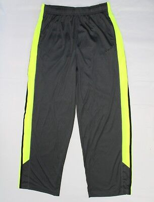 Nike Dri-Fit Boys Size XL Lightweight Mesh Stripe Gray/Volt Neon Active Pants