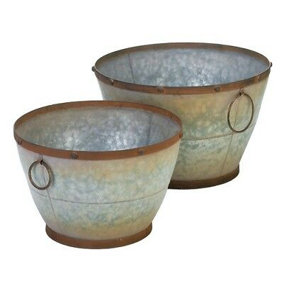Rustic Galvanized Tapered Planters Set of 2 with Antique Finished Rims