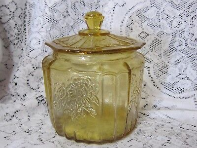 Vintage Indiana Glass  Amber Jar Biscuit Canister with Lid