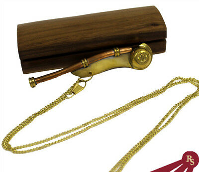 BRASS BOATSWAIN'S PIPE - Wooden Box - BOSUN WHISTLE