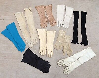 Lot Of 9 Pairs Vintage Ladies Fancy Gloves Opera Leather Crochet Lace Etc