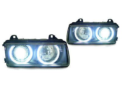 DEPO UHP White LED Angel Eye Black Projector Headlight For 92-99 BMW E36 3Series