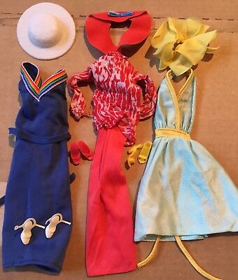 Lot of Vintage 1970s Barbie Tagged Dress Outfits w/ Hats & Shoes