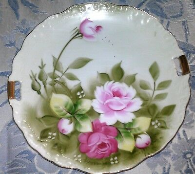 Hand Painted Lefton Plate w/Roses-Handles-Trimmed in Gold 719-Shabby Chic