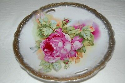 Beautiful Vintage Porcelain Plate White, Pink Roses Ornate Gold Trim Lovely