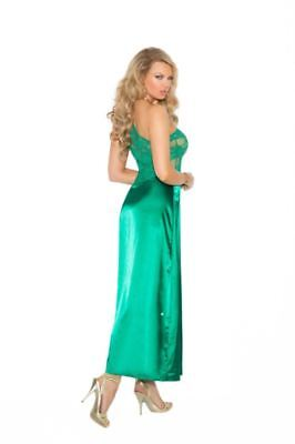Elegant Moments Women's Long Silky Nightgown in Jade Green - Stunning!