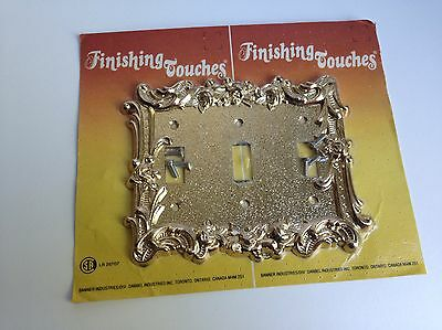 Vintage Retro Ornate Cast Metal Triple 3-Gang Light Switch Plate Cover, Gold