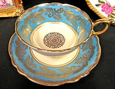 Paragon Tea Cup And Saucer Blue & Gold Gilt Pattern Teacup Wide Mouth