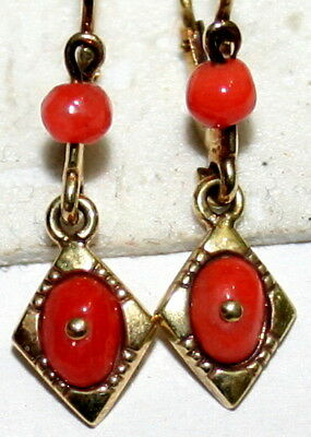 ANTIQUE VICTORIAN 9K YELLOW GOLD SALMON CORAL SMALL FINE DANGLE EARRINGS c 1900