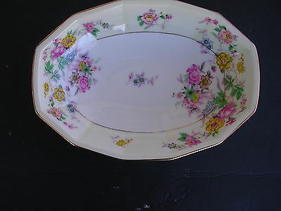 "Crown Imperial Czechoslovakia ""SERVING BOWL"" 10 1/2"" X 7 1/2"" Flowers,VINTAGE."