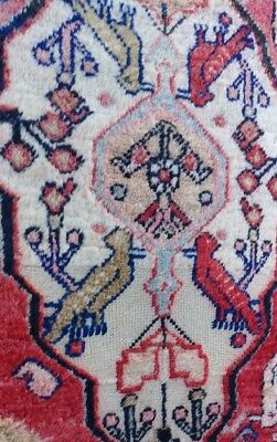 """Old Vintage Hand Woven Persian/Oriental Rug 11'4""""x7' Red Birds Pictorial Art"""