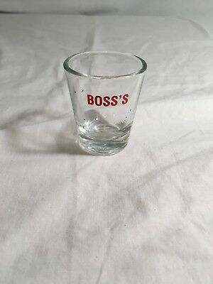 Boss's Shot Glass Clear Red Letter 1OZ Office Work!  Barware ManCave Gift! a-AE