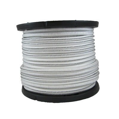 3/8″ 1000 ft Bungee Shock Cord White With Black Tracer  Marine Grade Heavy Duty
