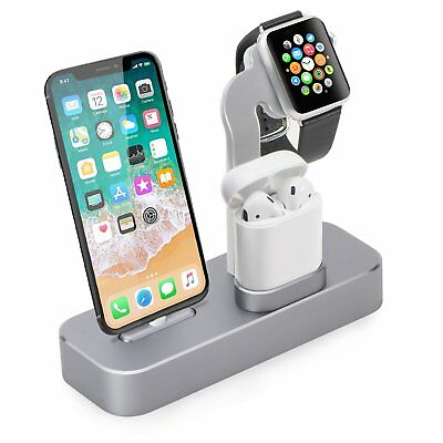 iPhone X/8/7 Plus Charging Dock Station Apple Watch AirPods Aluminium New Holder
