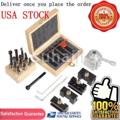 "Mini Quick Change Tool Post Holder Set + 9x Boring Bar 3/8"" + 5x Indexable 3/8"""