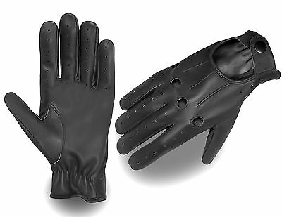 Brand New Retro Style Quality Soft Leather Mens Driving Gloves Unlined Chauffeur