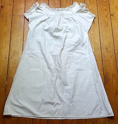 Antique Victorian Embroidered Cotton Lace NIGHTGOWN White Work - 1880's