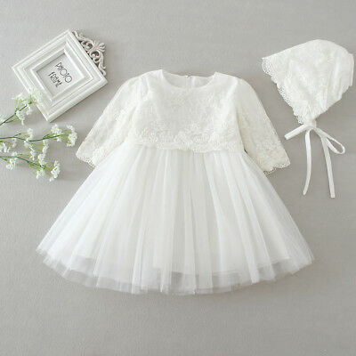 Baby Lace Party Dress Christening Baptism Girl Dresses with Bonnet US Stock