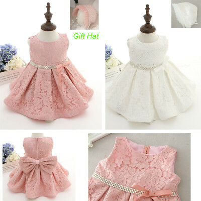 Infant Baby Girls Lace Christening and Baptism Dress Set with Bonnet US Stock