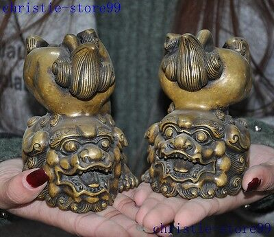 Old China bronze fengshui foo dog lion auspicious A pair lucky animal statue