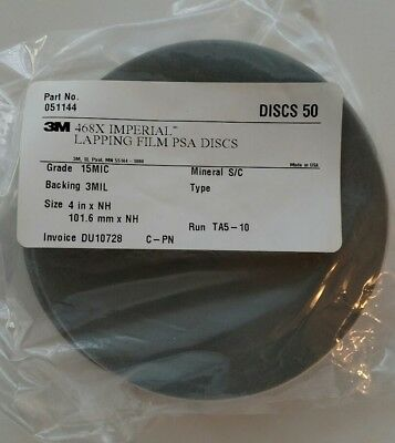 3M Lapping Film 4In X Nh 468X 15Mic 3Mil Psa Silicon Carbide 50 Discs Per Pack